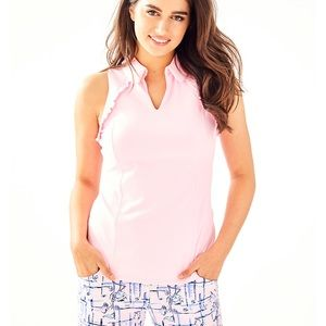 Lilly Pulitzer pink ruffle top